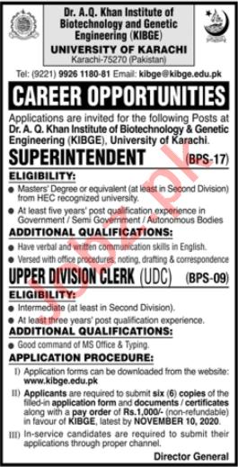 KIBGE University of Karachi Jobs 2020 Clerk & Superintendent