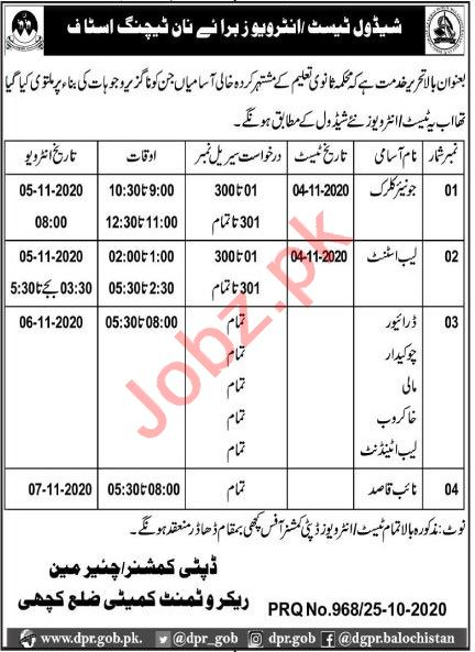 Recruitment Committee Kachhi Jobs 2020 for Clerk & Driver