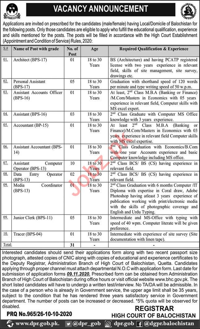Balochistan High Court BHC Jobs 2020 for Assistant & Clerk