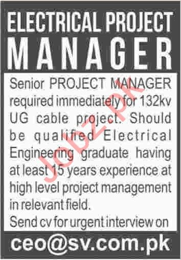 Electrical Project Manager Jobs 2020 in Karachi