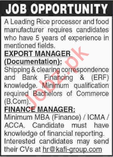 Finance Manager & Export Manager Jobs 2020 in Karachi
