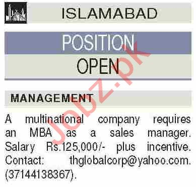 Sales Manager & Marketing Manager Jobs 2020 in Islamabad