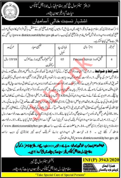District & Session Court Khyber Jobs 2020 for Process Server