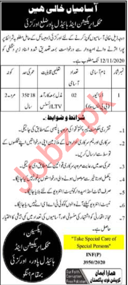 Irrigation & Hydel Power Division Orakzai Jobs 2020