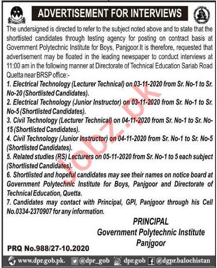 Government Polytechnic Institute Panjgoor Jobs 2020