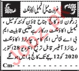 Female Accountant & Finance Officer Jobs 2020 in Quetta