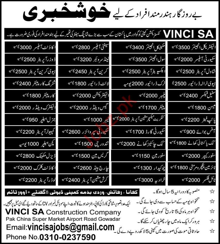 Vinci SA Construction Company Gwadar Jobs 2020 for Engineer