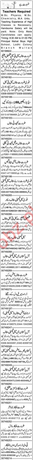 Assistant Supervisor & Teacher Jobs 2020 in Multan