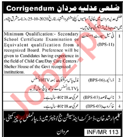 District & Session Court Mardan Jobs 2020 for Drivers