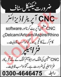CNC Operator & Fitter Jobs 2020 in Lahore