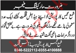 Marketing Manager Jobs 2020 in Shama Gas Corporation Gilgit