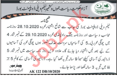 Neelum Valley Development Board Jobs 2020 for Clerks