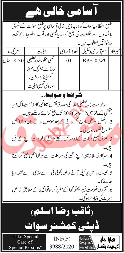 Alhamd Jobs 2020 in Deputy Commissioner DC Swat