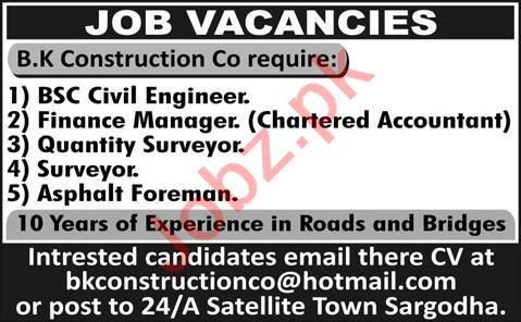 Civil Engineer & Finance Manager Jobs 2020 in Sargodha