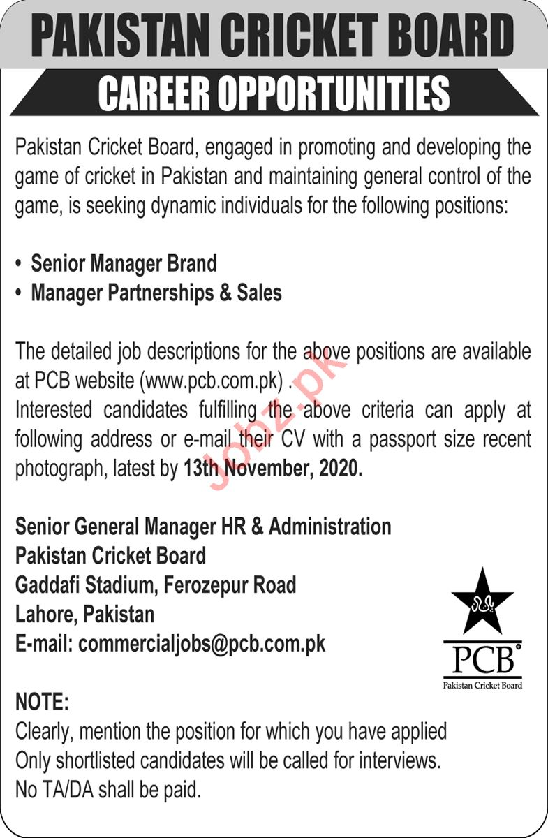 Pakistan Cricket Board PCB Jobs 2020 for Manager Brand