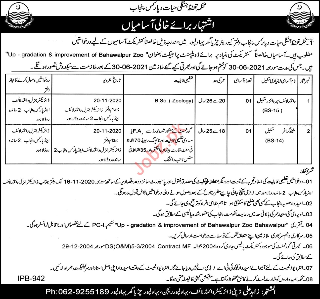 Punjab Wildlife & Parks Department Bahawalpur Jobs 2020