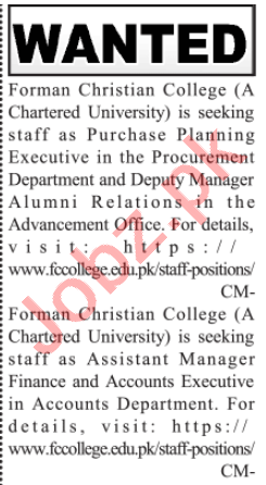Forman Christian College Lahore Jobs 2020 Planning Executive