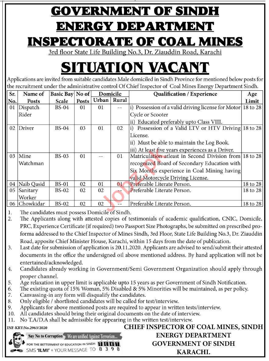 Inspectorate of Coal Mines Karachi Jobs 2020 for Drivers