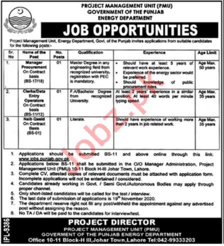 Energy Department Punjab Jobs 2020 for Manager & Clerks