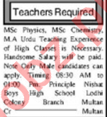 Teaching Staff Jobs Career Opportunity in Multan