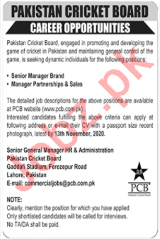 Pakistan Cricket Board PCB Jobs 2020 for Manager Sales