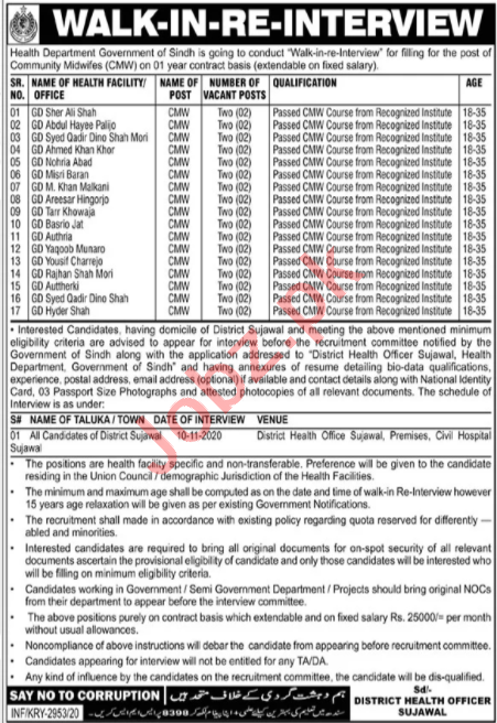 District Health Officer DHO Sujawal Jobs 2020 for CMWs