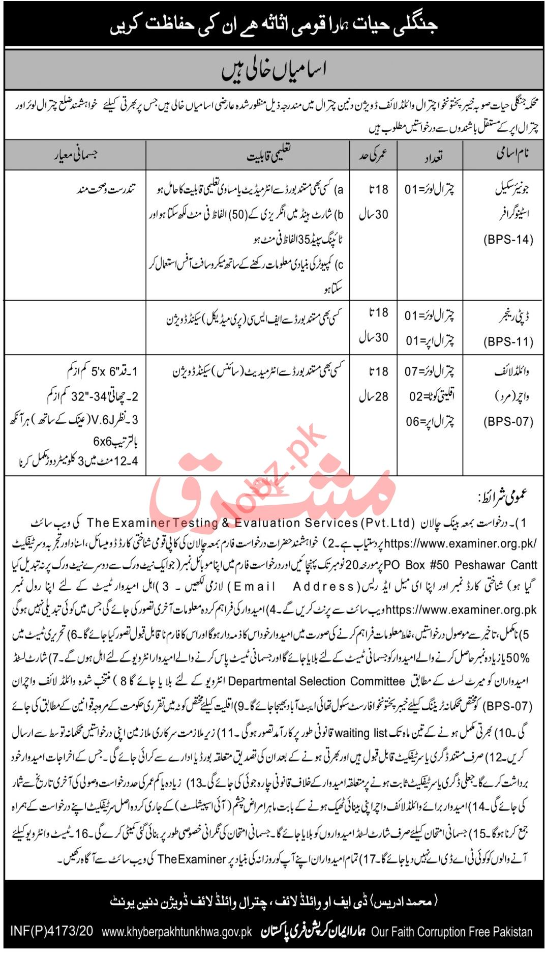 Chitral Wildlife Division Jobs 2020 for Wildlife Watcher