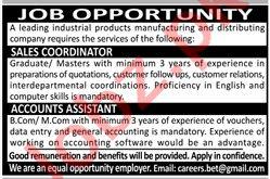 Sales Coordinator & Accounts Assistant Jobs 2020