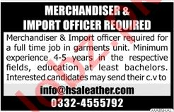 Merchandiser & Import Officer Jobs in HSA Leather Lahore