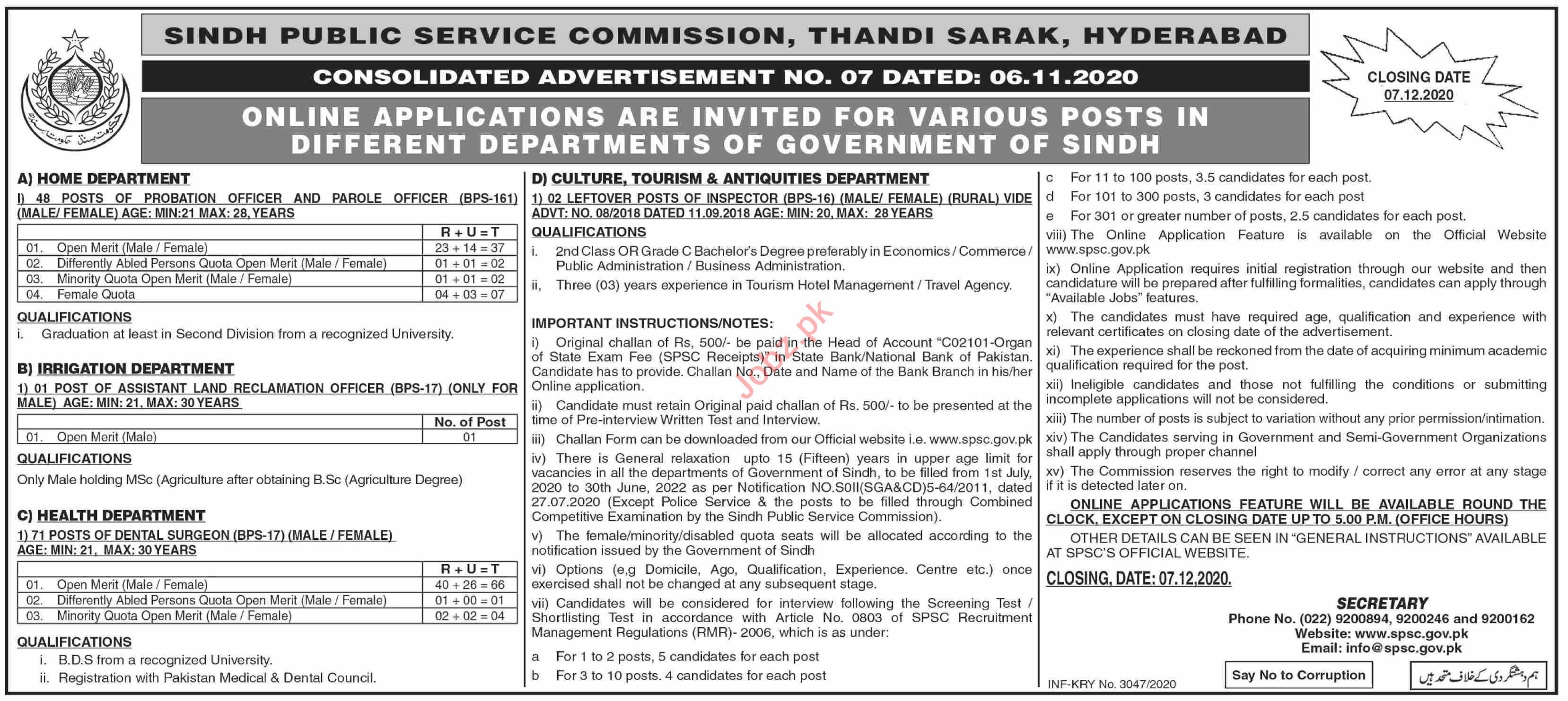 Sindh Public Service Commission SPSC Jobs December 2020