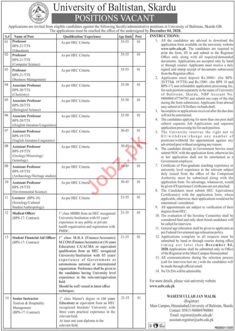 University of Baltistan Skardu UOBS Faculty Jobs 2020