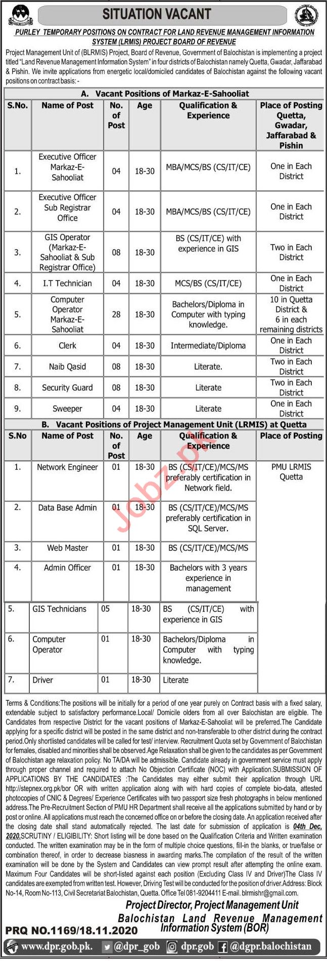 Board of Revenue LRMIS Balochistan Jobs 2020