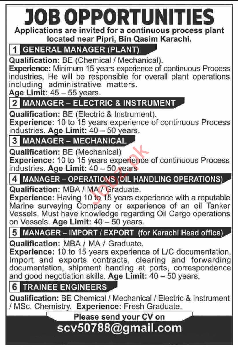 General Manager Plant & Manager Electric Jobs 2020