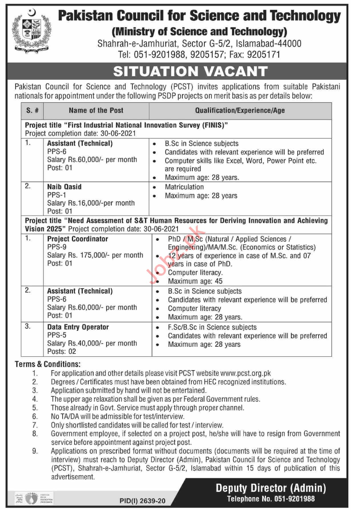 Pakistan Council for Science & Technology Jobs for Assistant