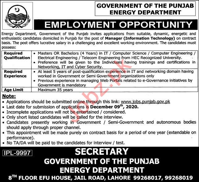 Punjab Energy Department Jobs 2020 for Manager