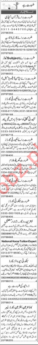 Quran Teacher & Finance Manager Jobs 2020 in Islamabad