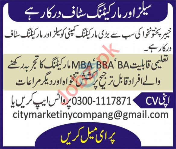 City Marketing Peshawar Jobs 2020 Sales & Marketing Staff