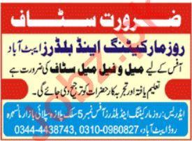 Rose Marketing & Builders Abbottabad Jobs 2020