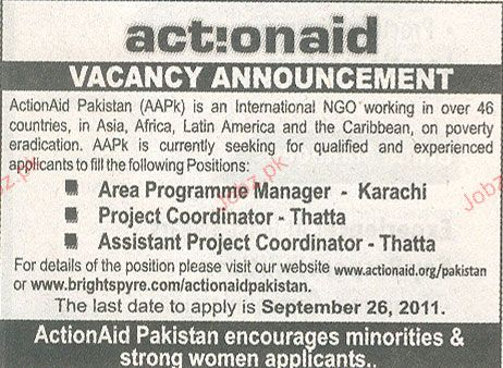 Area Programme Manager, Project Coordinator Required