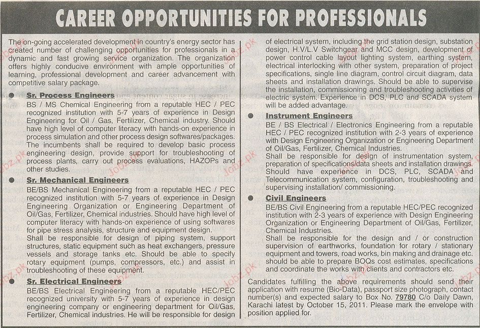 Senior Process Engineer, Instrument Engineer Required