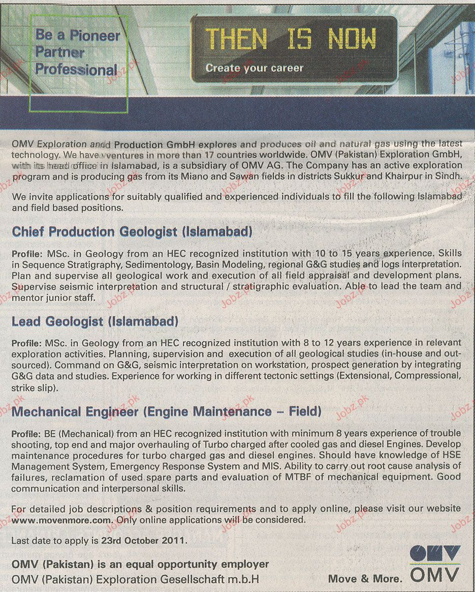 Chief Production Geologist, Lead Geologist Job Opportunity
