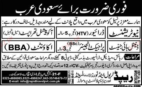 Nutritionist, Drivers, Doctors, project Engineer Required