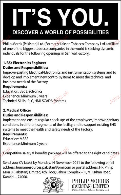 Electronics Engineers, Medical Officer Job Opportunity