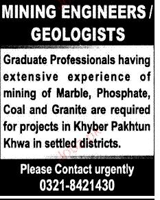 Mining Engineers/ Geologists Job Opportunity
