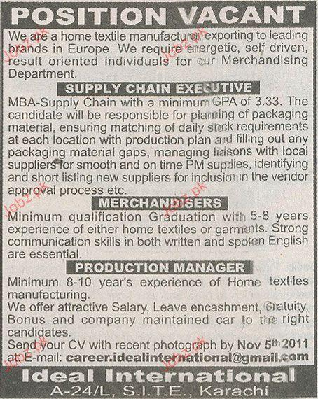 Supply Chain Executives Merchandisers Job Opportunity 2017 Jobs – Supply Chain Management Job Description