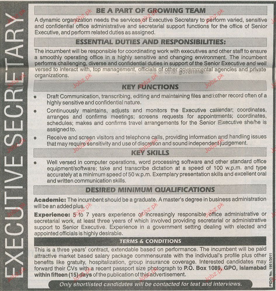 Executive Secretary Job Opportunity