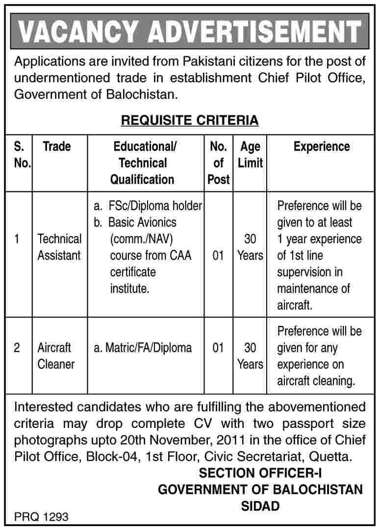 Technical Assistant and Aircraft Clearner Jobs Balochistan