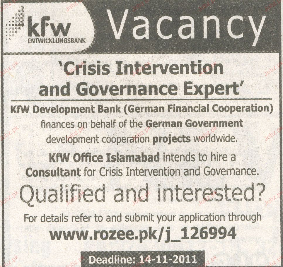 Crisis Intervention and Governance Expert Job Opportunity