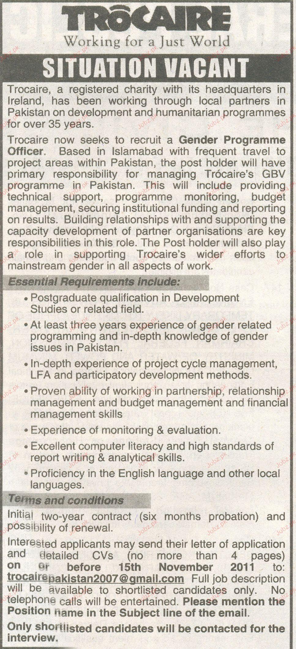 Gender Programme Officer Job Opportunity