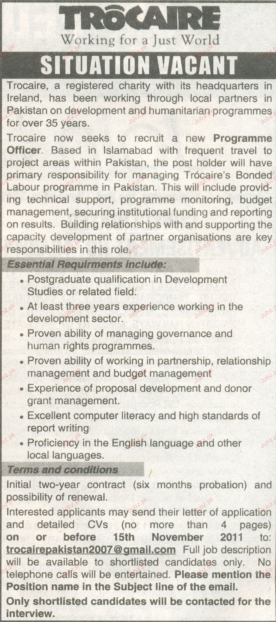 Programme Officer Job Opportunity